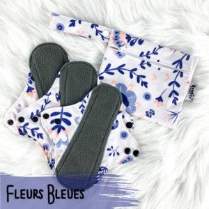 Fleurs bleues – Serviettes hygiéniques