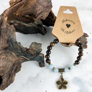 Jade Bleu et Fleur – Bracelet
