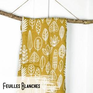 Feuilles Blanches – Mousseline Bambou/Coton